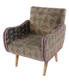 Look at this #zulilyfind! Karma Living Brown & Red Geometric Curved-Arm Chair