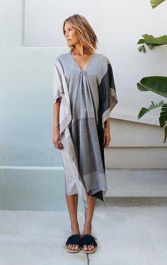 Two New York Gray Color Block Caftan - fabric collaboration with sari designer Anavila