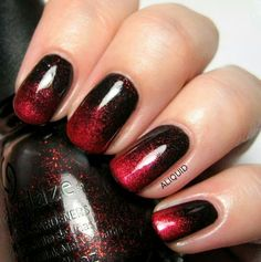 Red Black Nails With Glitter Ombre Grant