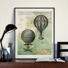 Vintage Hot Air Balloon aeronautic Map North America Instant Download Printable A3 A4 Wall Art Print 11x14 8×10 DIGITAL DOWNLOAD jpg HQ300dp by ZikkiArt on Etsy