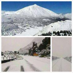 Yahoee...! sne på Teide og det omkring liggende område, fantastisk  det er så belønningen for at haft 2 dages uvejr