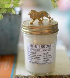 Lion Lid Tomato Scented Soy Candle by Let's Put A Bird On It on Scoutmob Shoppe