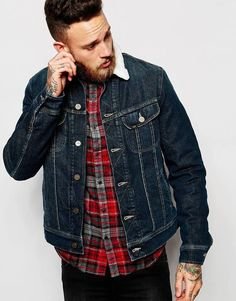 $113, Lee Denim Sherpa Jacket Borg Fully Lined Stretch Mid Wash. Sold by Asos. Click for more info: https://lookastic.com/men/shop_items/389662/redirect