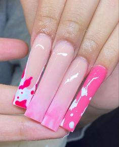 Acrylic Nails Coffin Pink, Short Square Acrylic Nails, Square Nails, Glam Nails, Dope Nails, Super Cute Nails, Pretty Nails, Alli Simpson, Cute Acrylic Nail Designs