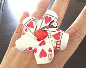 Queen of Hearts Playing Card Cocktail Ring