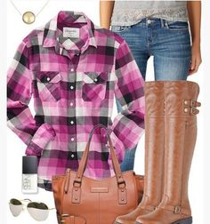 A Classic Collection of Plaid Outfit Ideas for Women 2014 - Purple Plaid Outfit, Purple Plaid Shirt, Jeans and Knee-length Boots