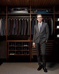 Great closet design, especially the shoe shelves and drawers. Los Angeles based suit designer/tailor, Derek Mattison's home closet.