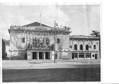 Dorking Halls decorated for the coronation of Queen Elizabeth II on 2 June 1953.