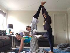 easy acro stunt for 3 people  acro  3 people yoga poses