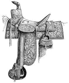 Stamped Leather Horse Saddle Free Printable Vintage Clip Art