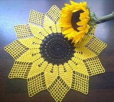Sunflower doily/Yellow doily/crochet doily by BusyCraftyMumSunflower hand made doily/Yellow doily/crochet doily/placemat/hand crochet lace yellow doily/yellow handmade/spring summer doily/table cloth Crochet Doily Patterns, Crochet Diagram, Thread Crochet, Crochet Motif, Crochet Doilies, Crochet Flowers, Hand Crochet, Crochet Stitches, Crochet Symbols