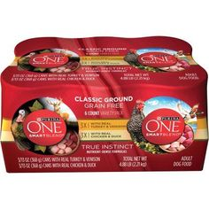 Purina ONE SmartBlend True Instinct Classic Ground Grain-Free Variety Pack, Six 13 oz Cans