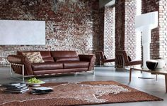 Furniture, Roche Bobois Dark Classic Browny Leather Coated Sofa With Decorated Tiger Style Fur Rug With Brick Wall And White Wall Painting O...