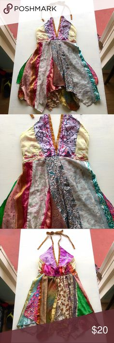 Boho Festive Belly Dance Silk Patchwork Halter Top Colorful Handmade Boho India Festival Belly Dancing Silk Patchwork Flowy Layered Halter Top. Size Medium. Gorgeous! Used, good condition. 100% silk. Made in India. Jack Pot New York Tops