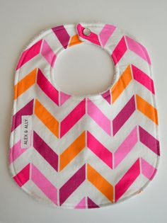 Baby Bib in Pink Chevron by alexandally on Etsy, $9.99