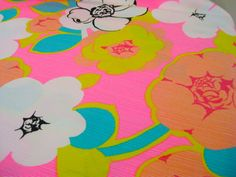 Vintage Fabric  Groovy Hot Pink Flowers  By the by NehiandZotz, $18.00