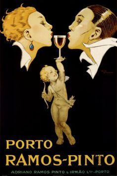 Affiche publicitaire de 1929 pour le vin de Porto de la Maison Ramos Pinto.