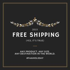 Free Shipping Worldwide Extended Through Monday, November 30th! Why wait? Shop now!