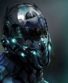 futuristic helmet that is from another planet