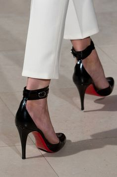 | P | Christian Louboutin Shoes Black Patent with Ankle Strap