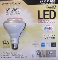 65W LED FLOOD DIMMABLE 65 WATTS 750 LUMENS REPLACEMENT BULB USES ONLY 13 WTS B19 #FeitElectric