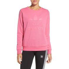 Women's Adidas Originals 'Trefoil' Crewneck Sweatshirt (€49) ❤ liked on Polyvore featuring tops, hoodies, sweatshirts, ray pink, adidas originals, pink crewneck sweatshirt, pink top, crewneck sweatshirt and crew-neck sweatshirts