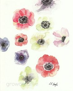 Original Watercolor Anemone Flowers Coral Pink от GrowCreativeShop, $42.00