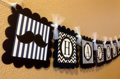 Mustache Bash Happy Birthday Banner  Cobalt by EmeraldCityPaperie, $26.00