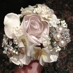 1st spray of my daughters brooch bouquet. Will update on progress.