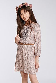 Embroidered Ditsy Floral Peasant Dress (Kids) | | #f21kids