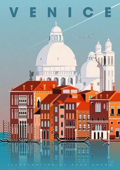 Italy Illustration, Digital Illustration, Grafic Art, World Cities, Modern City, Art For Art Sake, City Maps, Vintage Travel Posters, Aerial View