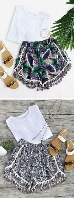 Print Tassel Trim Shirred Waist Wrap Shorts