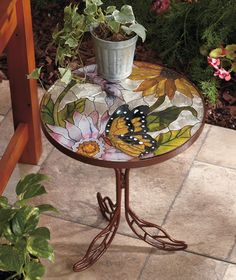 Art Nouveau Stained Glass Accent Table