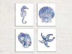 Nautical Art Set of 4 Prints, Navy Blue White, Seahorse Print, Starfish, Seashell Wall Art, Conch Shell, Modern Beach House Bathroom Decor