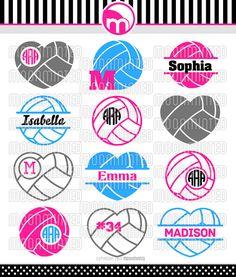 Volleyball SVG Cut Files Monogram Frames for Vinyl por MoonMinted