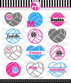 Volleyball SVG Cut Files Monogram Frames for Vinyl por MoonMinted