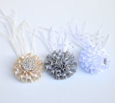 Satin puff jewel feather hair clip. White by TutusChicBoutique, $7.50