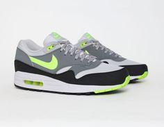 #Nike #AirMax 1 Grey/Volt #Sneakers