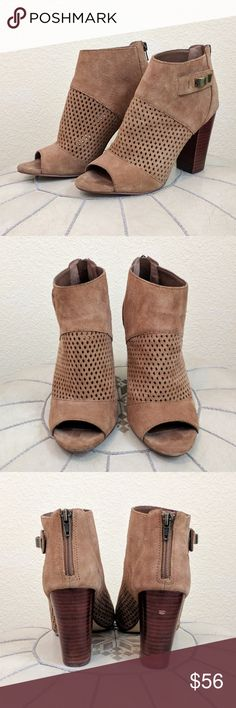 "DV By Dolce Vita Marana Open Toe Bootie Sz 7 These Marana booties by Dolce Vita feature, an open toe, cognac brown suede with perforated detail, and 3.5"" stacked wood heel. Approx. 4.5"" shaft height, 9"" opening circumference. Side zip closure. Buckle detail. Great condition - one small blemish on the right boot heel as pictured. Size 7. DV by Dolce Vita Shoes Ankle Boots & Booties"
