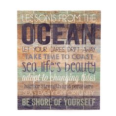 Graham Dunn Lessons From the Ocean Reclaimed Wooden Sign at The Paper Store Bathroom Curtain Set, Christmas Shower Curtains, Polynesian Designs, Beach Theme Bathroom, Bathroom Ideas, Old Country Stores, Beach Signs, Unique Home Decor, Print Pictures