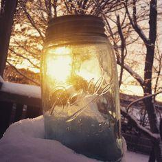 Sunset in a Blue Mason Jar