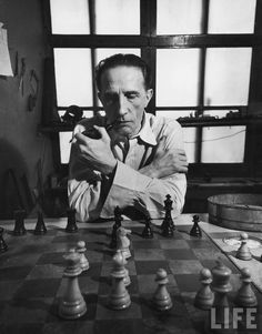 """"""" """"I am still a victim of chess. It has all the beauty of art — and much more. Chess is much purer than art in its social position."""" - Marcel Duchamp My pipe and chess, they work well together."""