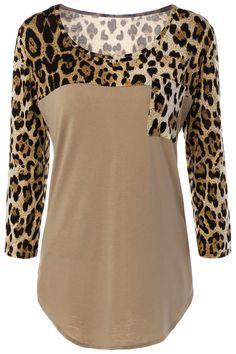 $11.48 Pockets Leopard Print T-Shirt