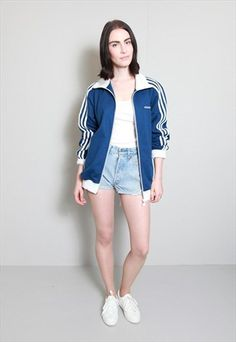 Vintage 1990's Blue and White Track Zip Jacket