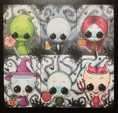 Sugar Fueled Nightmare Before Christmas Set of 6 - Jack, Sally, Oogie, Lock, Shock and Barrel lowbrow creepy cute big eye ACEO mini print