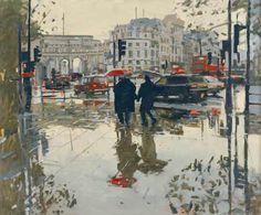 Painting by Ken Howard Rain Effect, Trafalgar Square, 08