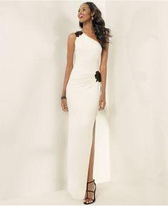 Lauren Ralph Lauren Beaded One-Shoulder Gown - Dresses - Women - Macy's