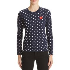 Comme Des Garcons Play Polka Dot Tee (3,215 MXN) ❤ liked on Polyvore featuring tops, t-shirts, play comme des garçons, play comme des garcons t shirt, polka dot tee, polka dot top and dot top