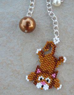 marque page chat suspendu 2 beadedchart cat, bead cat