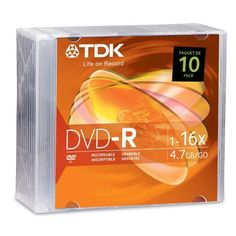 TDK Systems 10PK DVD-R 4.7GB 16X-BRANDED W/ SLIM JC ( DVD-R47FM10 ) by TDK. $14.23. TDK Life on Record 4.7GB DVD-R media offers the widest compatibility with most computer drives and home DVD players. Ideal for general purpose recording, a single TDK DVD-R has ample capacity for thousands of digital photos, up to six hours of video, and large data files. Each DVD-R disc can be fully recorded once.